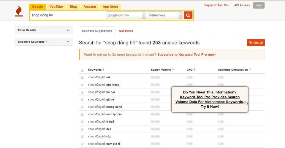 công cụ nghiên cứu keyword keywordtool.io