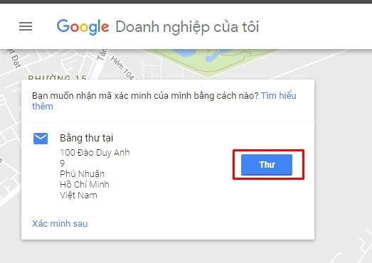 google gửi thử xác nhận doanh nghiệp