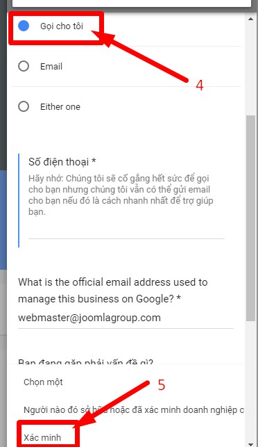 xác nhận google doanh nghiệp